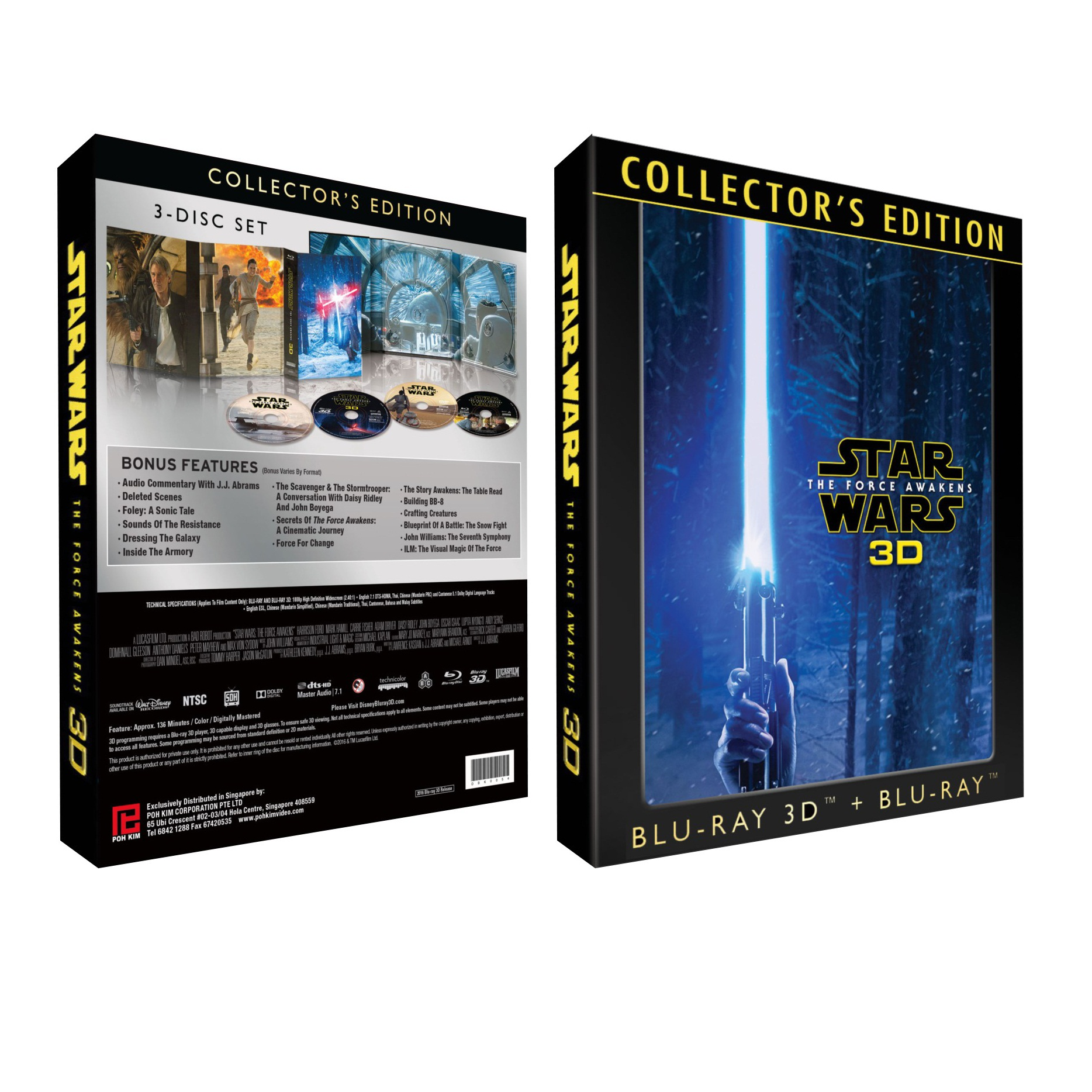 Star Wars: The Force Awakens (Collector's Edition 3-DISC SET: 2D + 3D  Blu-ray + Bonus Blu-ray)